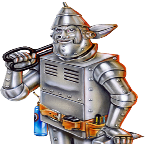 image of a tin man holding snips leaning on hammer with a furnace body